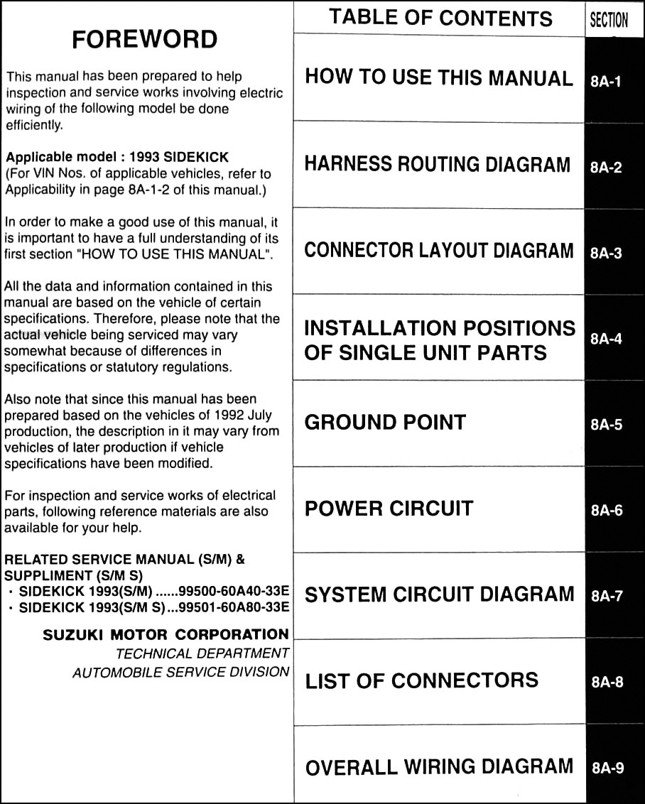 1998 suzuki sidekick 1600 and sport 1800 x-90 wiring ... suzuki x 90 wiring diagram nissan x trail wiring diagram