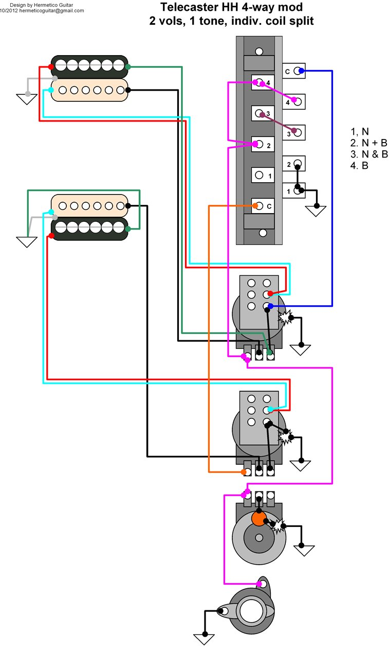 2 Humbucker 2v 2t Push Pull Wiring Diagram