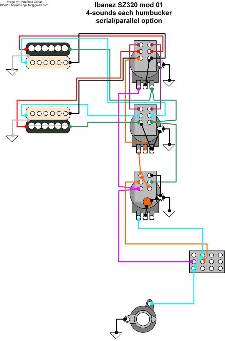 4 Conductor Humbucker Wiring Diagram on