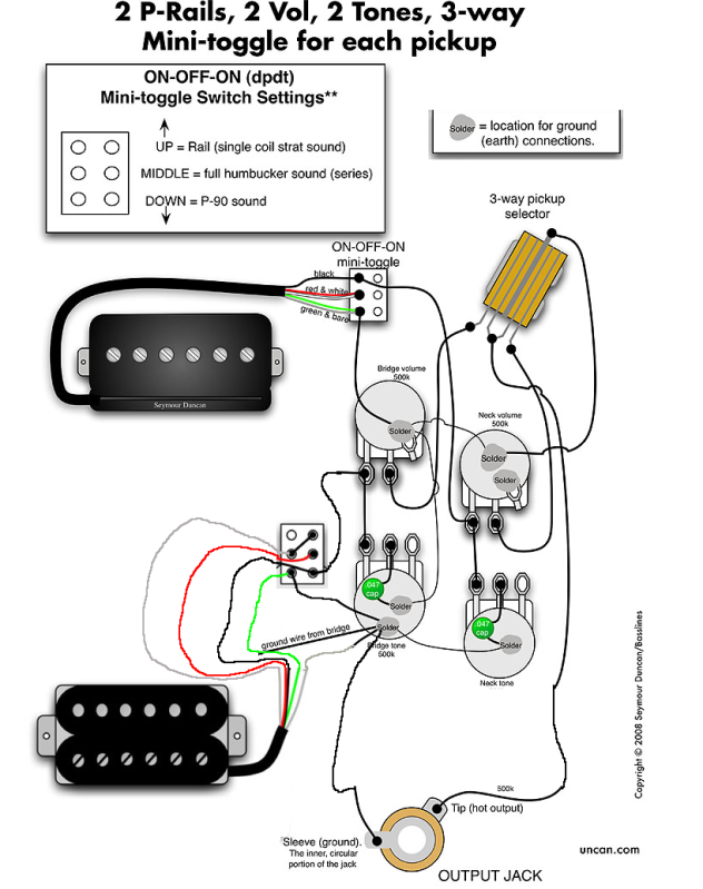 Les Paul Wiring Diagram P90 from schematron.org