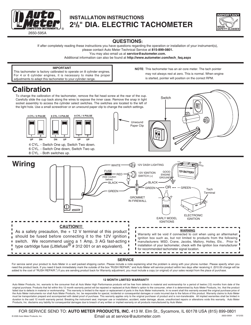 Wiring Diagram Auto Meter Tachometer Wiring Diagram Autometer Tach