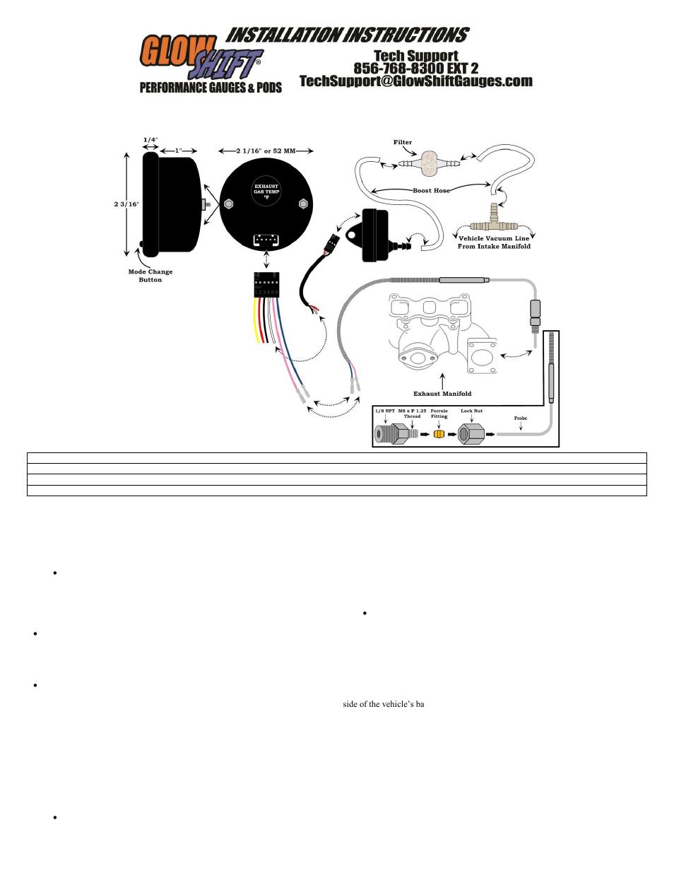 Glowshift Boost Gauge Wiring
