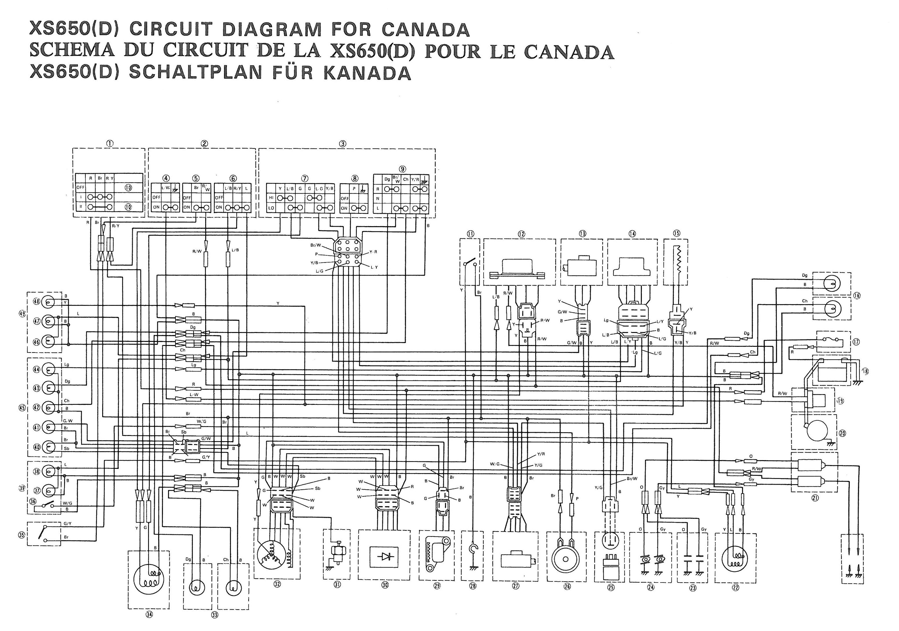 Color Schematics Yamaha Xs650 Wiring Diagram on