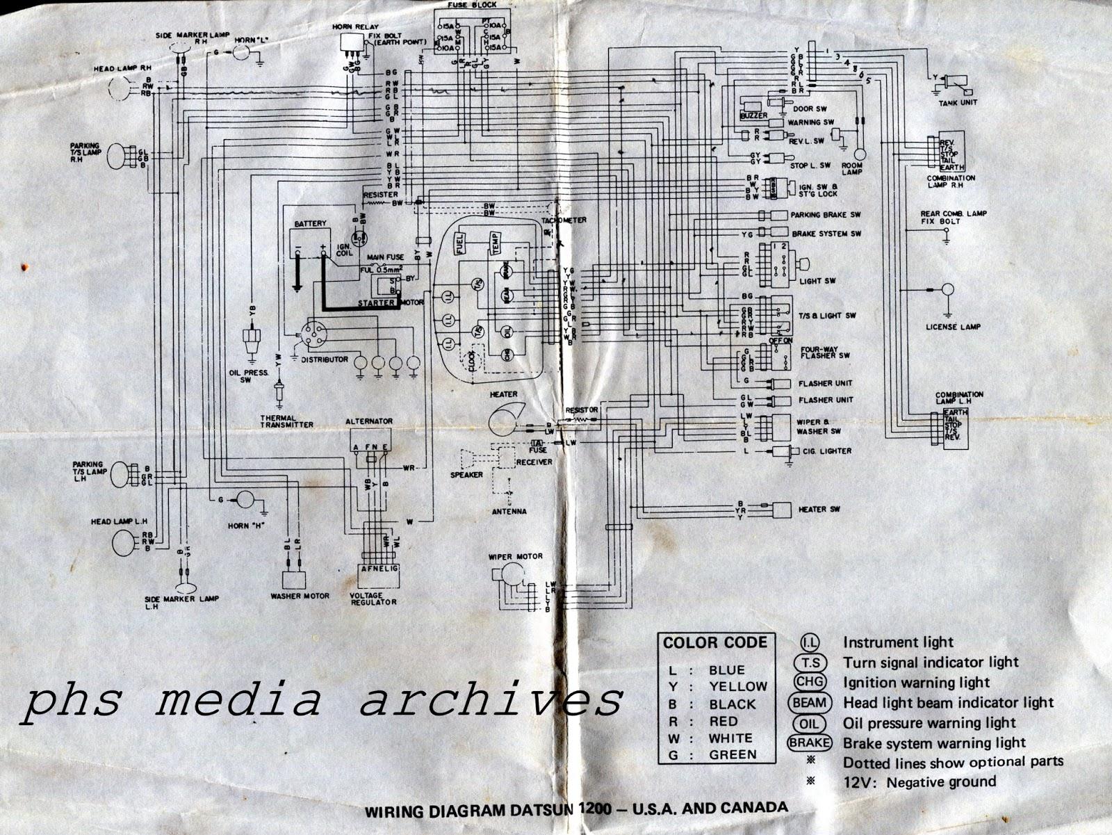 Datsun 1200 Wiring Diagram on