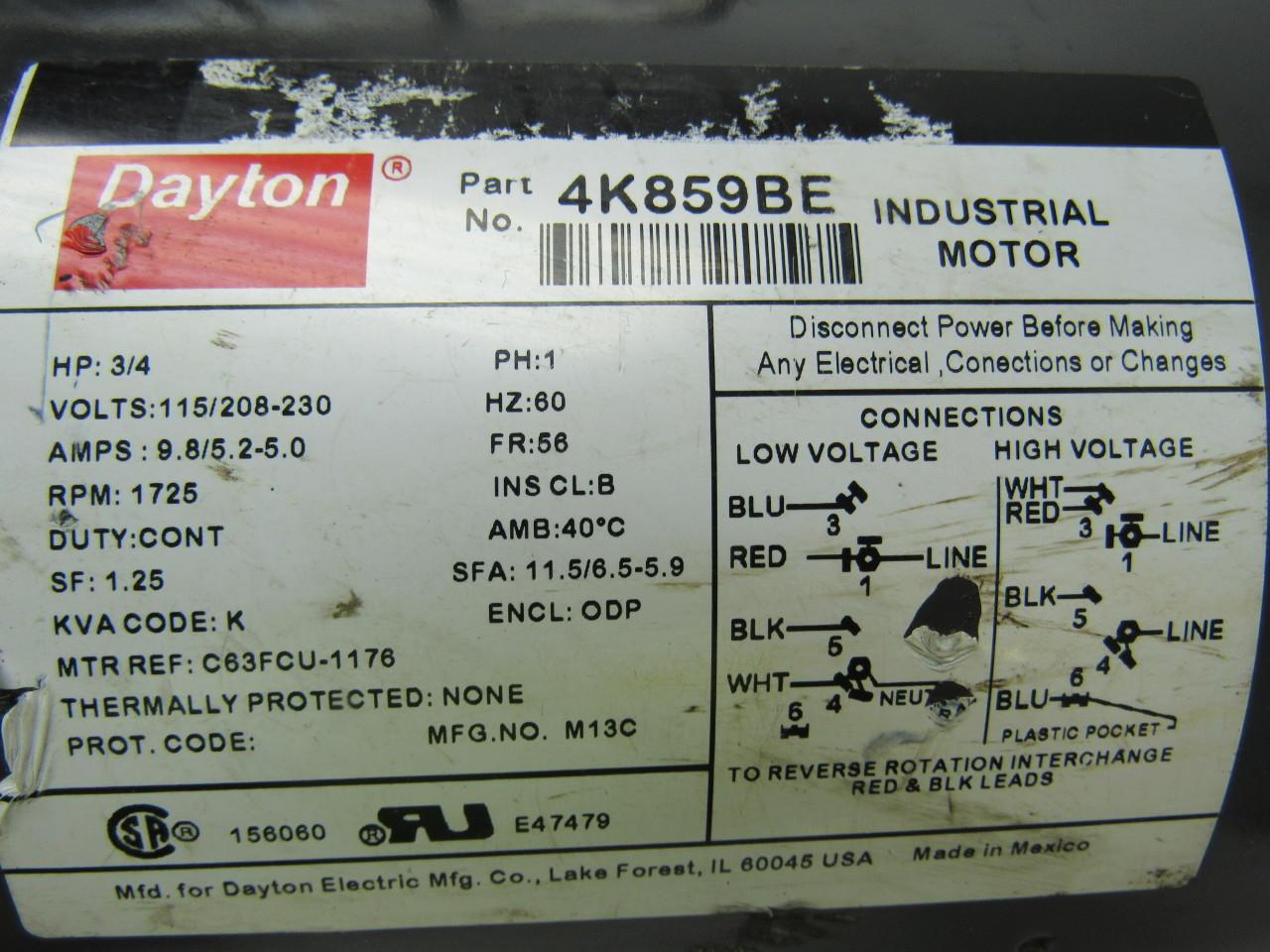 Dayton 3/4 Hp 115v Electric Motors Wiring Diagram on