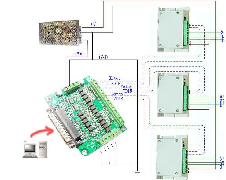 Cnc Wiring Diagram Breakout - Wiring Diagram G11 on db25 breakout board wiring diagram, cnc wiring diagram, sata connector wiring diagram, tb6560 schematic,