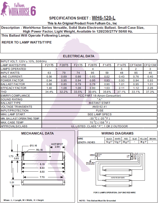 Fulham Workhorse Ballast Wh2-120-c Wiring Diagram on