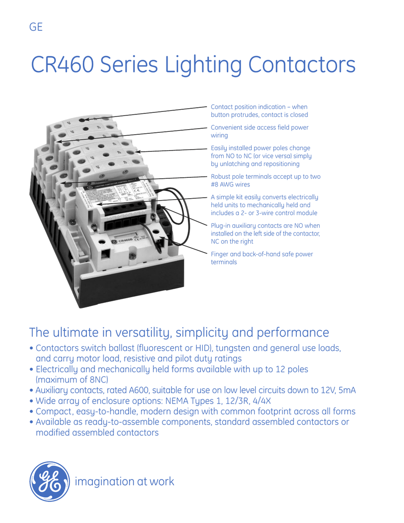 Ge Lighting Contactor Cr460b Wiring Diagram