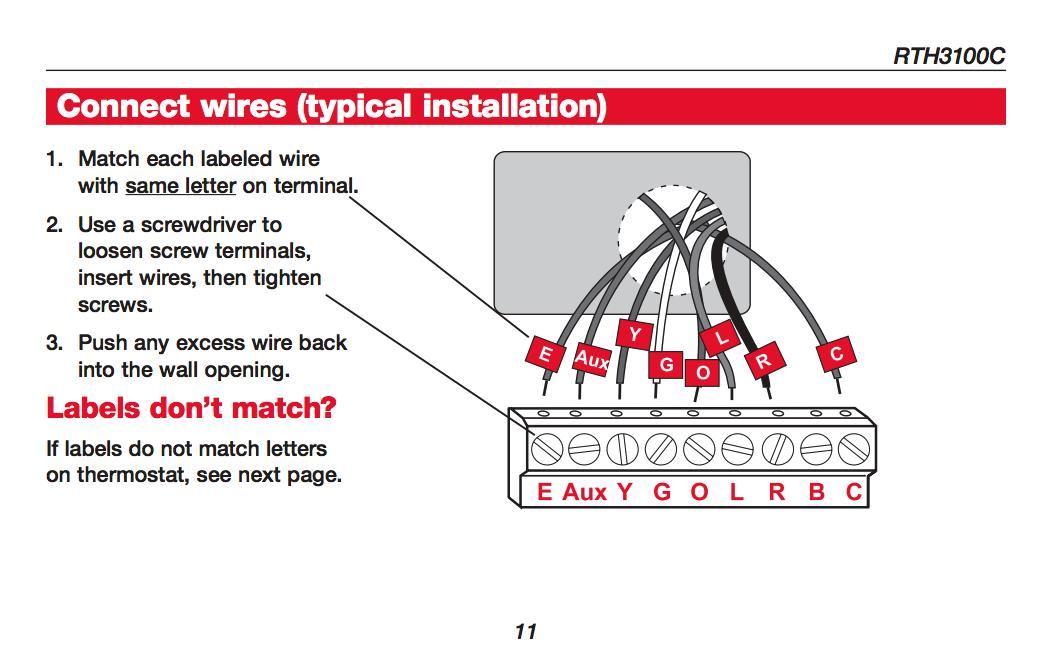 Honeywell Thermostat Rth3100c Wiring Diagram
