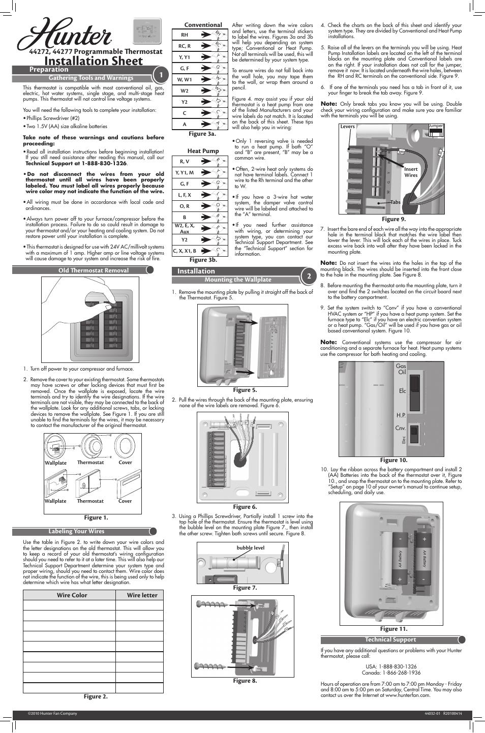 hunter thermostat 44665 wiring diagram hunter thermostat 44260 wiring diagram 2wire
