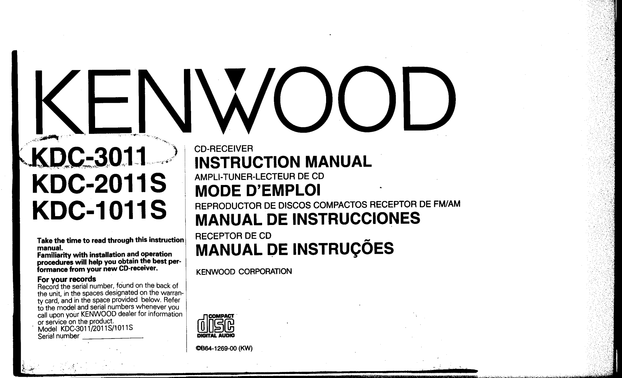 Kenwood Kdc 1011s Wiring Diagram