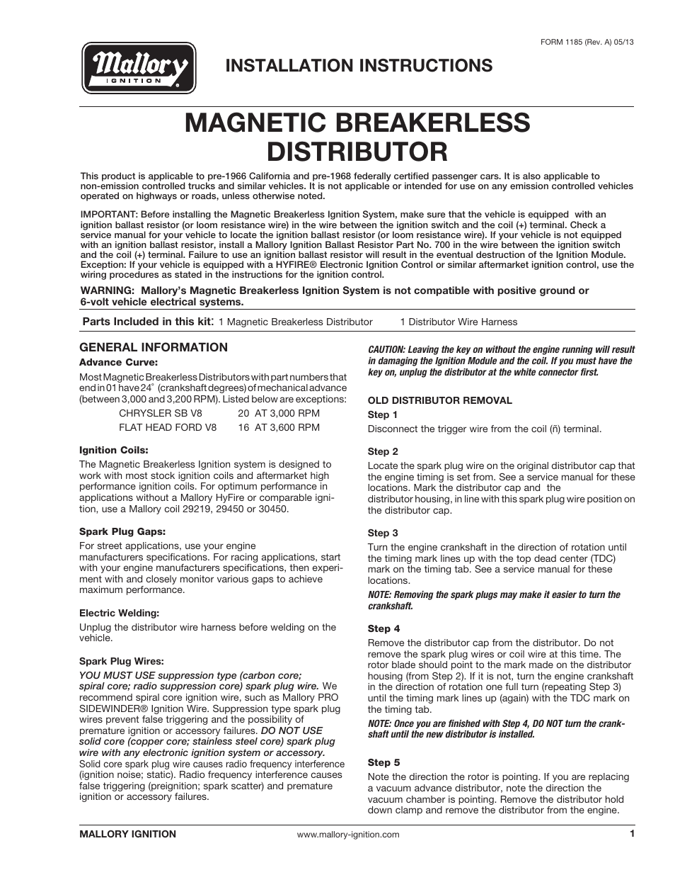Mallory Magnetic Breakerless Wiring Diagram