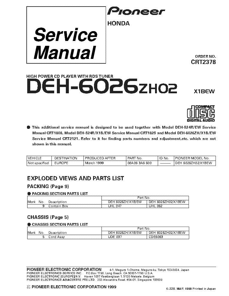 Pioneer Deh-X3800Ui Wiring Diagram from schematron.org