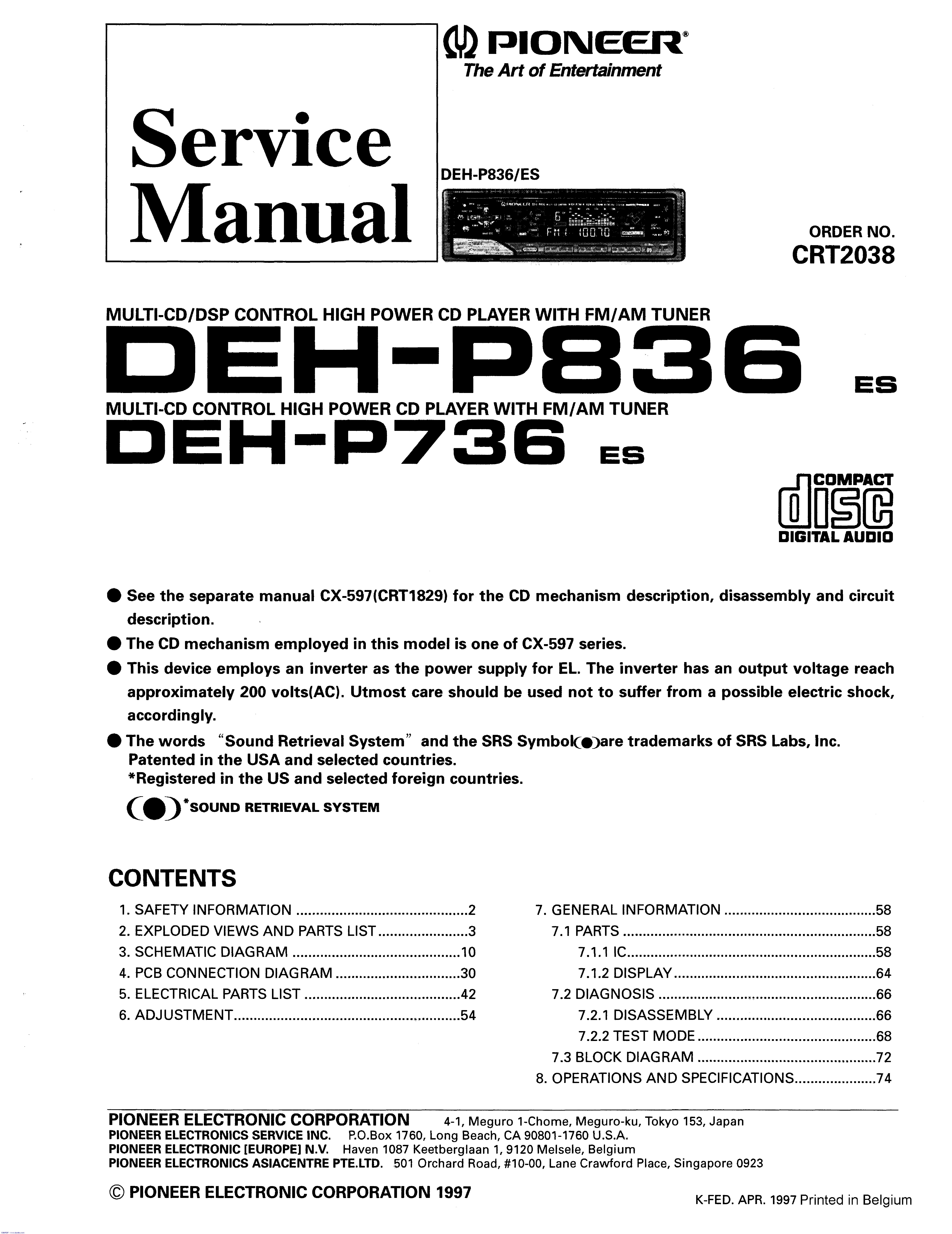 Pioneer Deh P6700mp Wiring Diagram