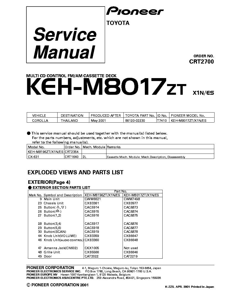 Pioneer Deh X65bt Wiring Diagram