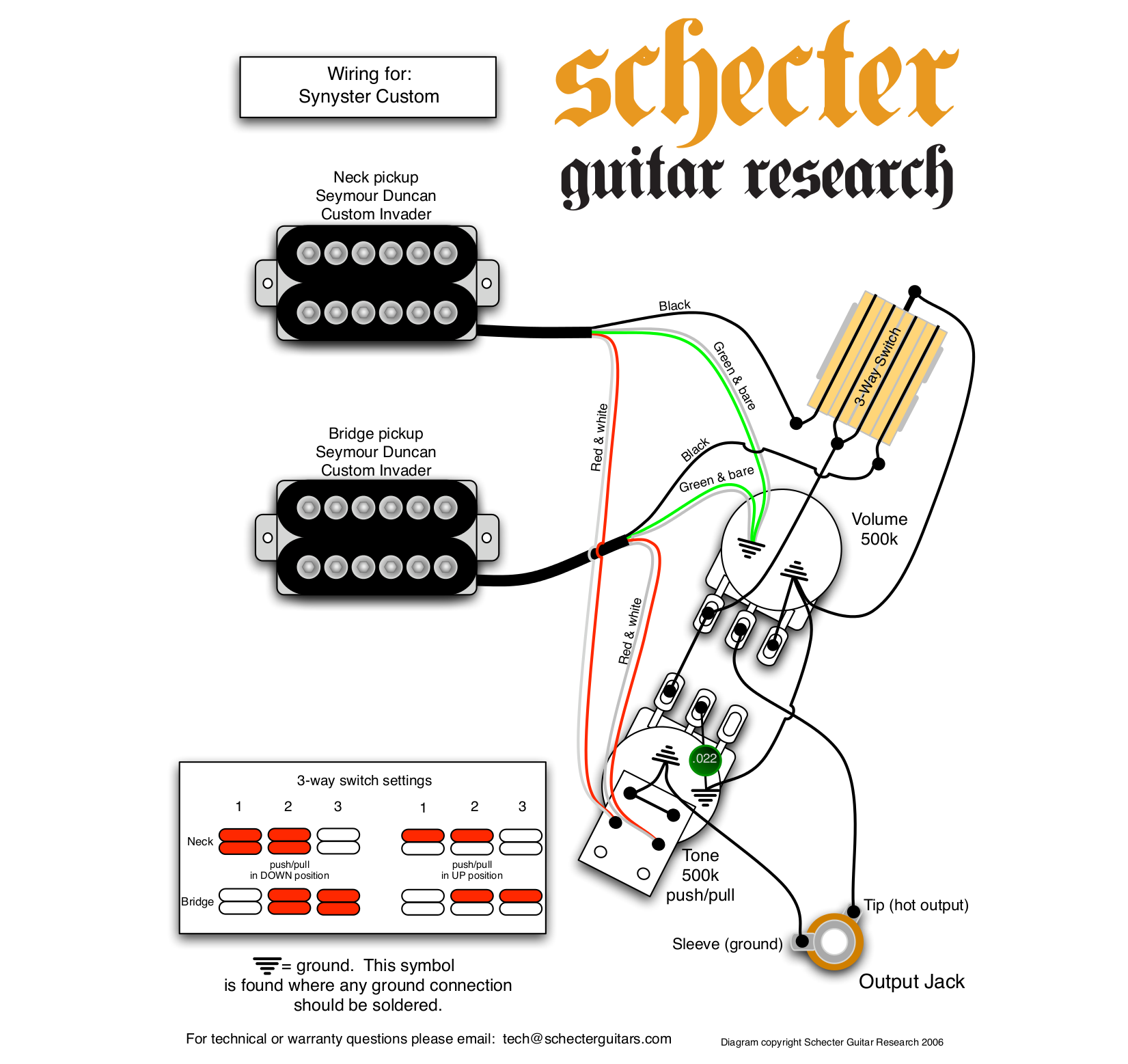 Schecter Synyster Gates Wiring Diagram Diamond Series