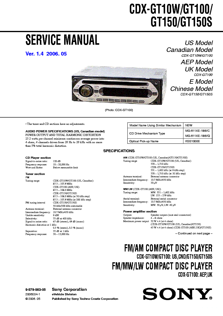 Sony Cdx Gt500 Wiring Diagram