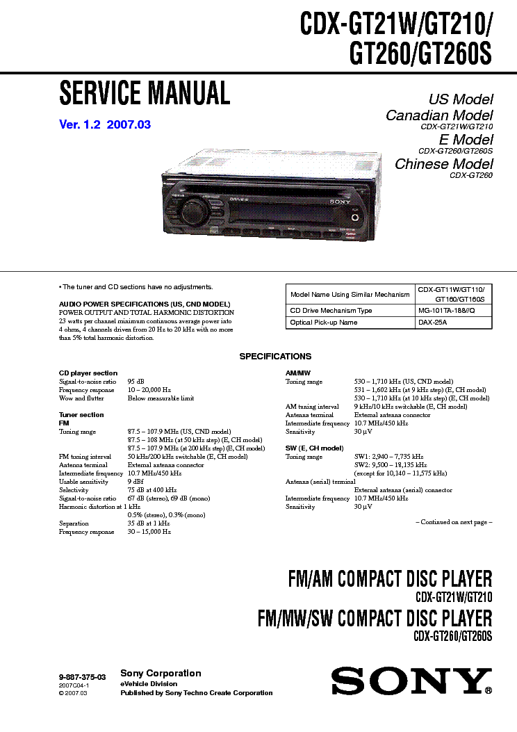 Sony Cdx Gt570 Wiring Diagram