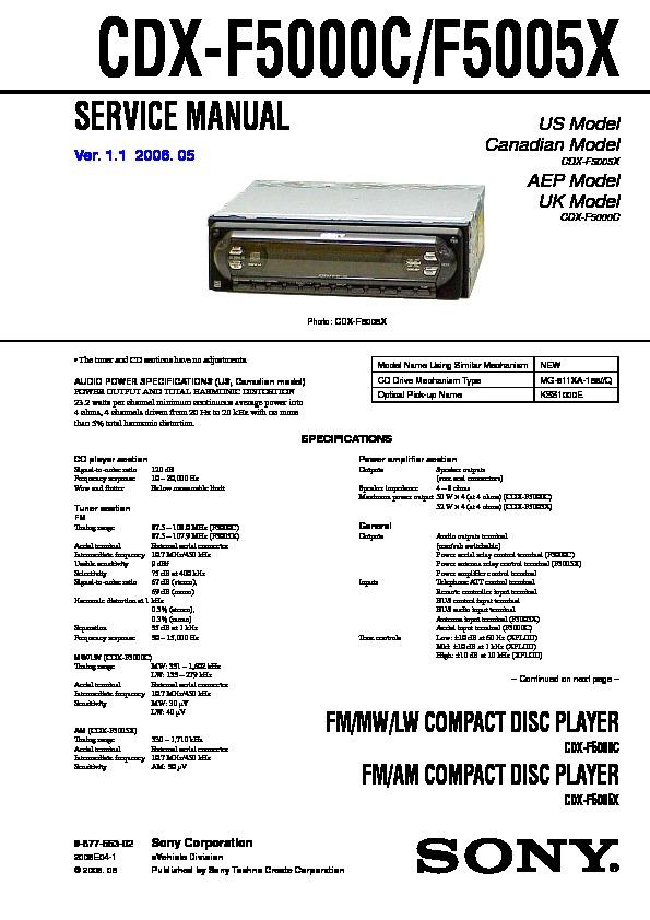 Sony Cdx Gt630ui Wiring Diagram