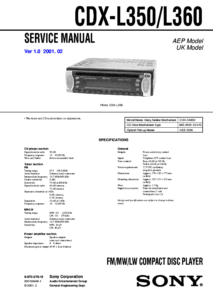 Sony Cd Player Wiring Diagram from schematron.org