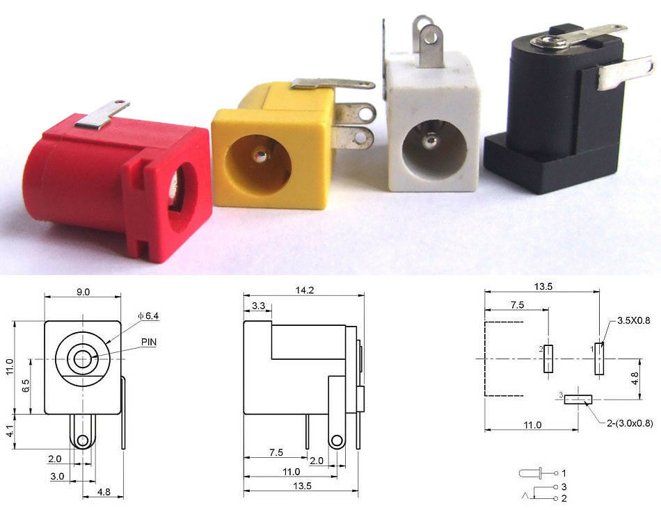 Uxcell 5 5 Mm X 2 1 Mm Female Dc Power Jack 3