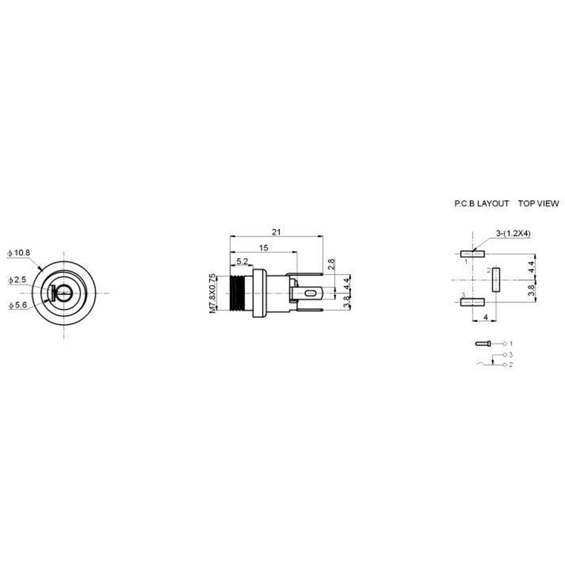 Uxcell 55 Mm X 21 Female Dc Power Jack 3 Pin Wiring Diagram