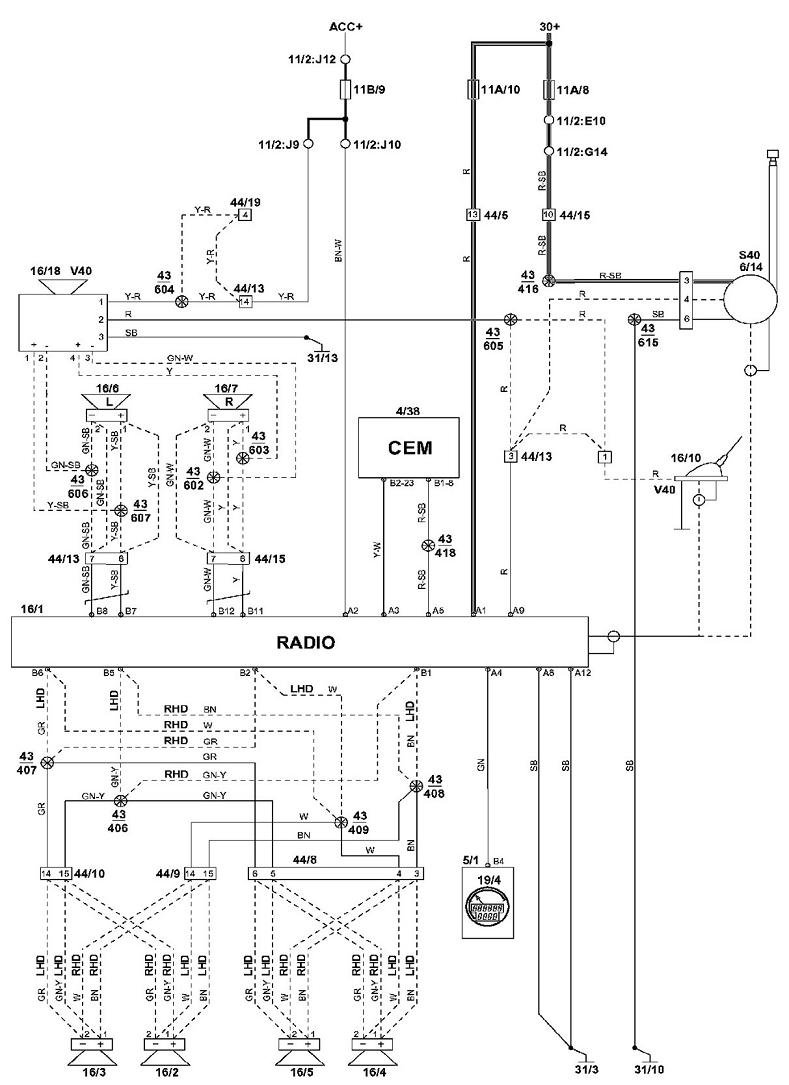 Volvo S40 Trunk Lock Assembly Diagram