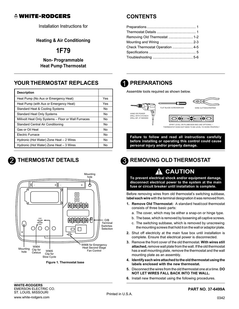 White Rodgers 90 T40m3 Wiring Diagram Thermostat 2 Wires
