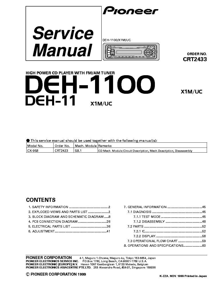 Wiring Diagram For A Pioneer Deh 245 Stereo