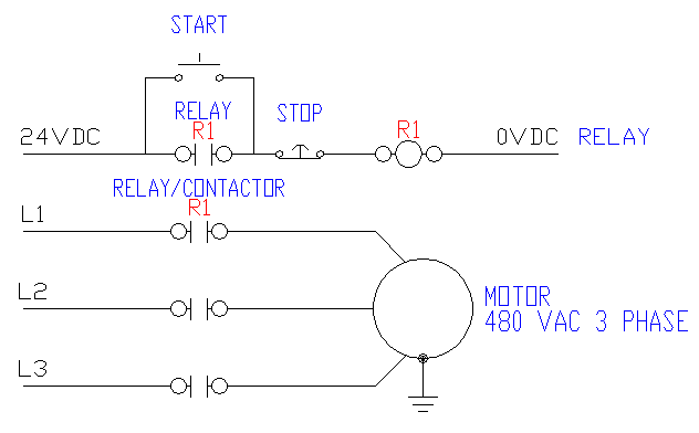 wiring diagram for a starter controlling a 480v motor with 120v start/stop  button