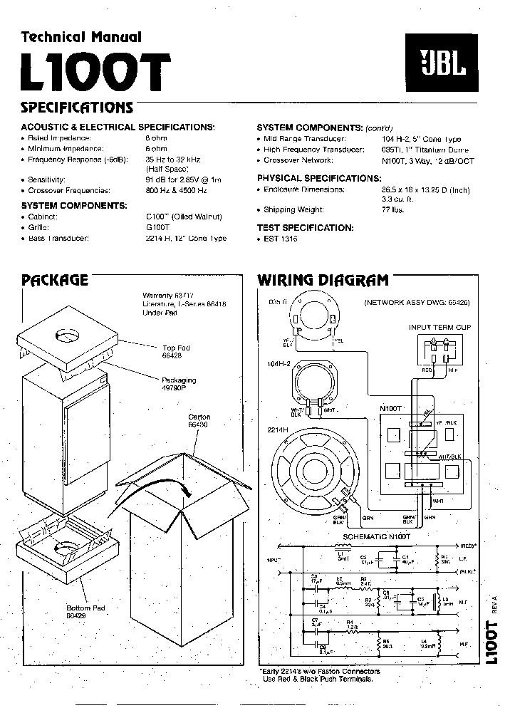 Wiring Diagram Jbl Crossover Network 73233